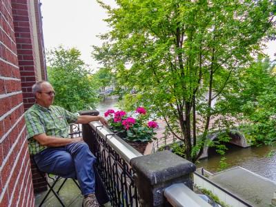 Rick enjoying view from Bridge Hotel