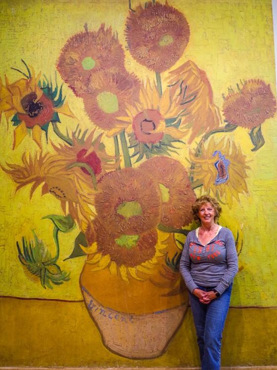 Irene with Van Gogh's Sunflowers