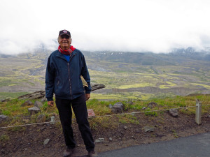 Our friend Reuven in front of a cloudy Mount St Helens